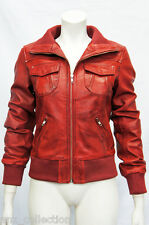 Portland Red Ladies Woman's Bomber Washed Real Sheep Lamb Nappa Leather Jacket