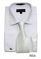 New Men's French Cuff Dress Shirt + Matching Tie +Handkerchief Spread White #27