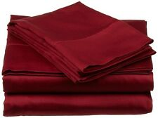 3PC's Duvet Cover Set 1200 Thread Count Egyptian Cotton Burgundy Solid