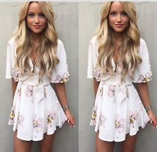 Sexy Ladies Playsuits Deep-V Floral Prints Summer Jumpsuit Shorts Pants Rompers