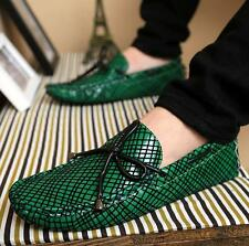 Moccasin driving Mens leisure Line stripe lattice style slip on Loafer shoes NEW