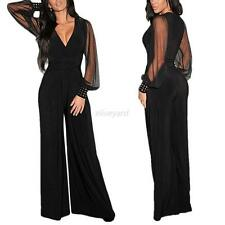 Chic Women V-neck Rompers Long Mesh Sleeve Wide Leg Trousers Jumpsuits Clubwear