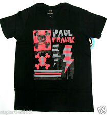Paul Frank T Shirt Julius Black  V Neck Skull Lightning 100% Cotton Paul Frank