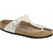 Birkenstock GIZEH Ladies Glitter Buckle Toe Post EVA Summer Beach Sandals White