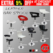 4x PU PVC Leather Bar Stools Kitchen Chair Dining Home Gas Lift Black White Red