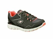 Skechers SYNERGY FRONT ROW Ladies Lace Up Comfort Gym Trainers Charcoal/Black