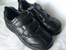 KIDS BOYS SCHOOL SHOES BLACK SLIP ON / VELCRO CASUAL TRAINERS SHOES SIZE