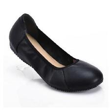 New Womens Slip On Loafer Ballet Flat Black Slip On Comfort Leather Casual Shoes