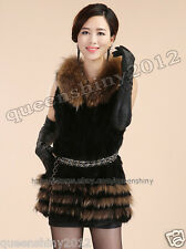100% Real Genuine Rabbit Fur Raccoon Fur Collar Vest Gilet Waistcoat Coat Women