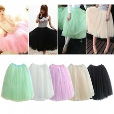 Womens Girls 5 Layers Tutu Princess Tulle Skirt Petticoat Bouffant Mini Dress