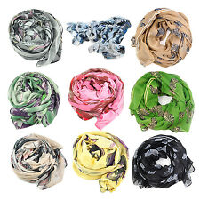 Begonia Flower ink Style Chiffon Neck Scarf Shawl ladies HP