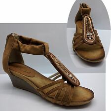 WOMENS LADIES SANDALS BEACH BROWN BEIGE WEDGE SHOES WEDGES HEELS ANKLE SIZE