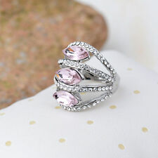18K White Gold Plated Pink Crystal Ring Fashion Jewelry CZ Rhinestone Lover Gift