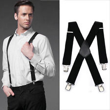 35mm / 50MM Unisex Mens Men Braces Plain Wide & Heavy Duty Suspenders Adjustable