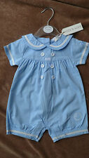 Baby boy blue sailor romper nautical 100% cotton christening classic design