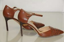 NEW MANOLO BLAHNIK brown cognac leather Ankle Strap BB Pumps SHOES 37