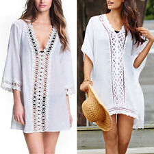 Women Bathing Suit Sexy Lace Stitching Bikini Swimwear Cover Up Beach Dress FN