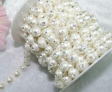 10mm Ivory Round Pearl Rhinestone Chain Trims Sewing Costume Applique LZ81
