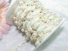 9mm Ivory Shining Pearl and Rhinestone Chain Trims Sewing Costume Applique LZ78