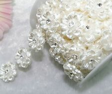 24mm Ivory Pearl And Rhinestone Chain Trims Sewing Costume Applique LZ74