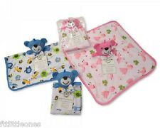 BABY BOYS GIRLS TEDDY BEAR COMFORTER BLANKET SUPERSOFT PINK OR BLUE SNUGGLE BABY