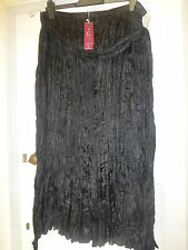 BNWT ELVI LINED MAXI SKIRT ELASTICATED WAIST CRINKLE PLEATS BLACK SIZE 22