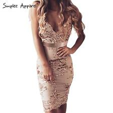 Simplee Sexy V Neck Strappy Sequin Mesh Embriodery Bodycon Dress Party Clubwear