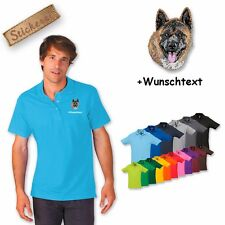 Polo Shirt Shirt Cotton Embroidered Embroidery Dog Akita + Text of your choice