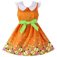 NWT Girls Dress Orange Ladybird Dot Print  Sundress Party Kids Clothing 4-14Y