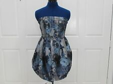 NEW w/o Tag- Blue/Gray/Black Floral Strapless Short Balloon Dress