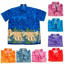 Colourful Mens Casual Shirts Thai Traditional Synthetic Silk Short Sleeve M-3XL