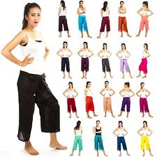 Thai Fisherman Pants Cotton 100% Wrap Unisex Yoga Boho Capri Long Trousers