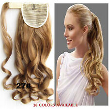 Wavy Curly Clip In Hair Ponytail Pony Tail Velcro Straps Wrap On Hair Extensions