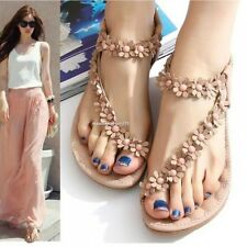 Summer Lady's Sandals Bohemia Style Flower Flat Thong Shoes For Women Strappy