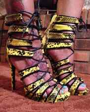 NEW- SHOE DAZZLE Basha Yellow/Black Strappy Heels (Sz 8 ) Beautiful!