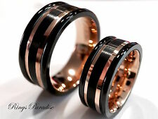 Matching Wedding Bands Set, Black Tungsten Ring, Wedding Rings, Engagement Rings