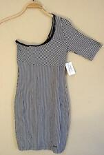$59 GUESS Sexy Lace Trim Black White Stripe One Shoulder Tunic Dress  NWT