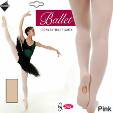 Silky Ladies Convertible Foot Ballet Dance Tights Size Small Medium Large Pink