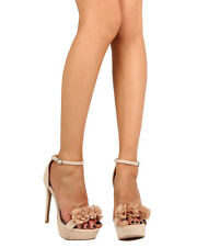 New Women Qupid Avalon-65 Nubuck Chiffon Rosette Platform Stiletto Sandal