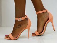 Coral / Peach Open Toe Stiletto High Heel Strappy Stylish Ankle Strap Sandals
