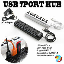 7 Port USB 2.0 HUB Powered AC Adapter Cable High Speed Splitter Desktop Extender