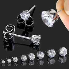 2pcs Mens Womens Stainless Steel Round Cubic Zirconia CZ Stud Earrings 3-10mm