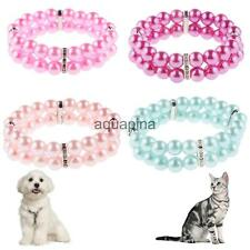 2 Rows Faux Pearl Beads Linked Pet Dog Doggie Collar Necklace 4 Colors S-L