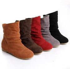 Ladies Faux Suede Pull On Knight Flat Slouch Cosplay Ankle Boots Round toe Shoes