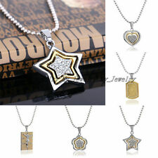 Fashion Jewelry Silver Plated Crystal Star Flower Pendant Necklace Bead Chain