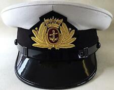 Merchant Navy White Cap & Badge & Black Chinstrap, Peak, Royal Navy