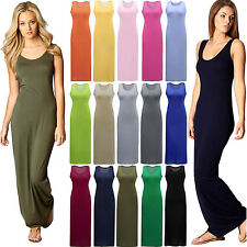 Women Sexy Summer Solid Color Slim Sleeveless Vest Long Sweeping Dress