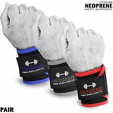 Weight Lifting Neoprene Wrist Support Bandage Gym Fitness Wraps Workout - PAIR