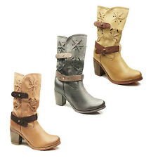 WOMENS LADIES MID CALF COWBOY STYLE CUBAN HEEL ANKLE BOOTS SHOES SIZE 3-8