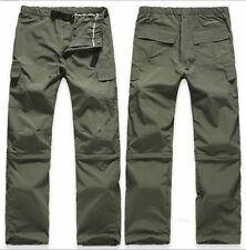 Mens Outdoor Quick Dry Short Pants Zip Off Leg Hiking Trousers Removable